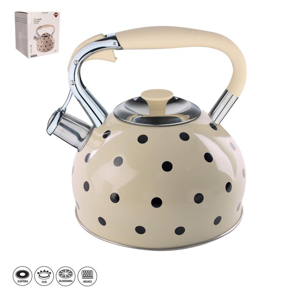 Nerezový čajník s odklápěcí píšťalkou Orion Malda, 3 l
