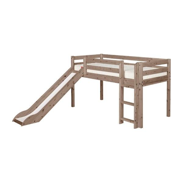 Brązowe łóżko średniej wielkości dziecięce z drewna sosnowego ze ślizgawką Flexa Classic, 90x200 cm