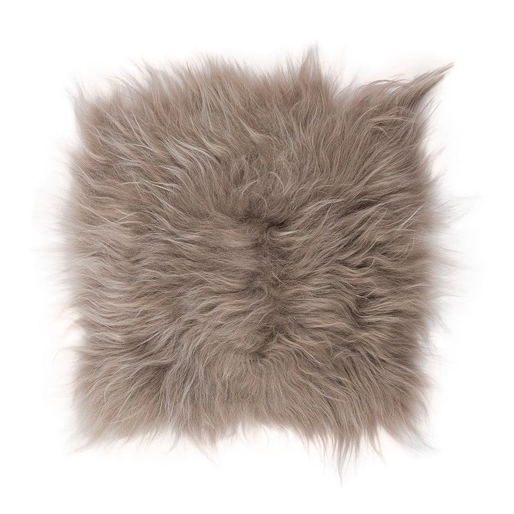 Hnědošedý kožešinový podsedák s dlouhým chlupem, 37 x 37 cm
