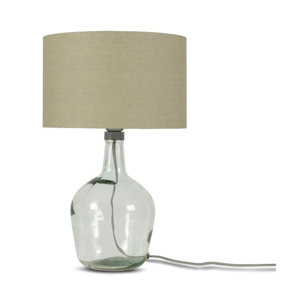 Stolová lampa s béžovým tienidlom a konštrukciou z recyklovaného skla Good&Mojo Murano, ⌀ 30 cm