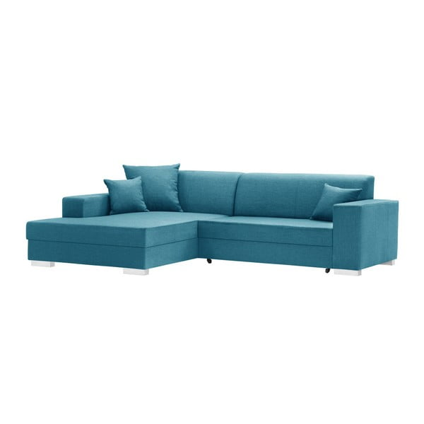 Perle világostürkiz ágyneműtartós, kinyitható kanapé, bal oldalas - INTERIEUR DE FAMILLE PARIS