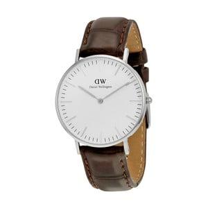 Dámské hodinky s hnědým páskem Daniel Wellington York Silver, ⌀36mm