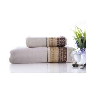 Set dvou ručníků Golf Cream, 70x140 a 50x90 cm