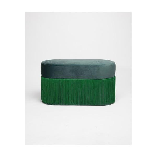 Zöld puff bársony kárpittal - Velvet Atelier