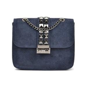 Tmavě modrá kožená kabelka Mangotti Lumido