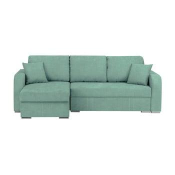 Canapea pe colț extensibilă cu 3 locuri și spațiu pentru depozitare Melart Louise verde mentol