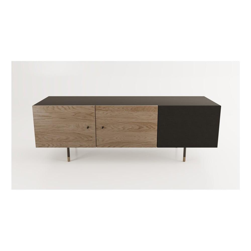 Hnědočerný televizní stolek Woodman Jugend