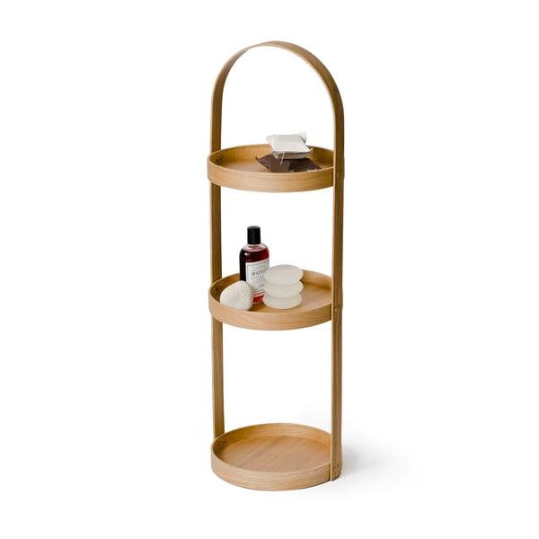Round Caddy Mezza tölgyfa fürdőszobai állvány, 3 polcos - Wireworks