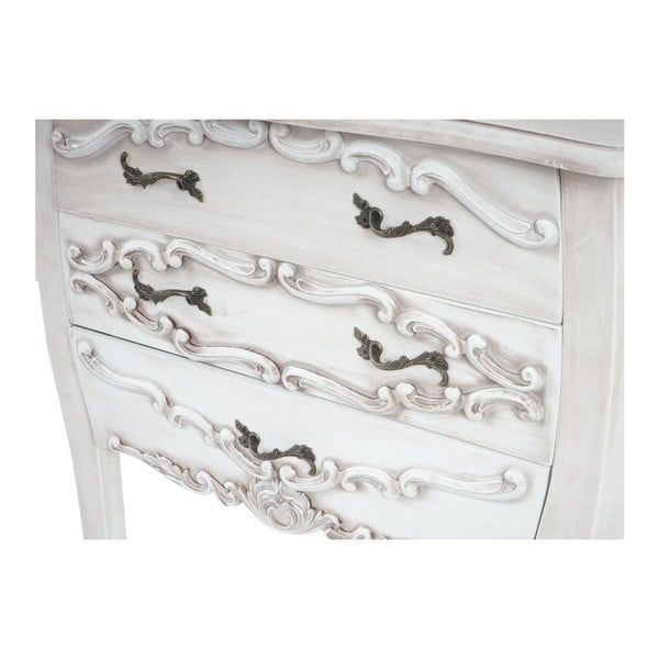 Skříňka se 3 zásuvkami Baroque White Antique