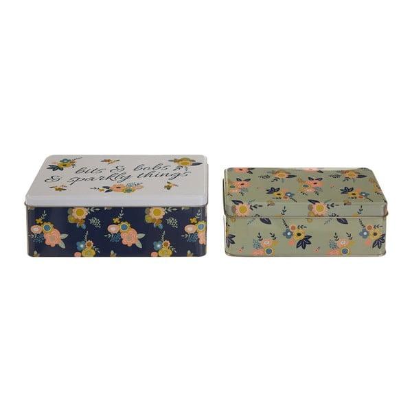 Set 2 cutii depozitare din tablă Premier Housewares Alicia, 13 x 20 cm