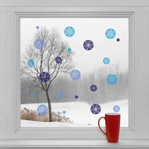Elektrostatické vánoční samolepky Modré vločky