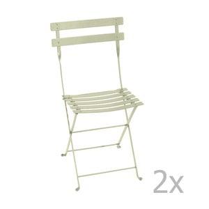 Sada 2 zelenkavých skládacích židlí Fermob Bistro