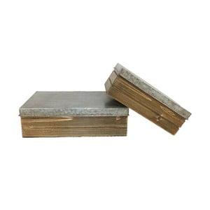 Sada 2 krabiček z jedlového dřeva Antic Line Vintage