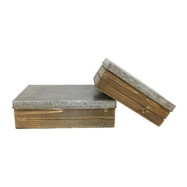 Sada 2 škatuliek z jedľového dreva Antic Line Vintage