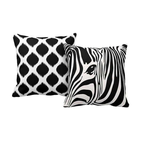 Set 2 polštářů Zebra, 43x43 cm