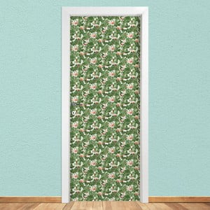 Samolepka na dveře LineArtistica Verde e Rosa, 80 x 215 cm