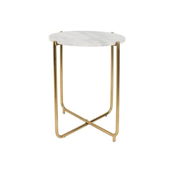 Bílý odkládací stolek s mramorovou deskou White Label Timpa