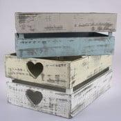 Sada 4 dřevěných přepravek Dakls Heart Days