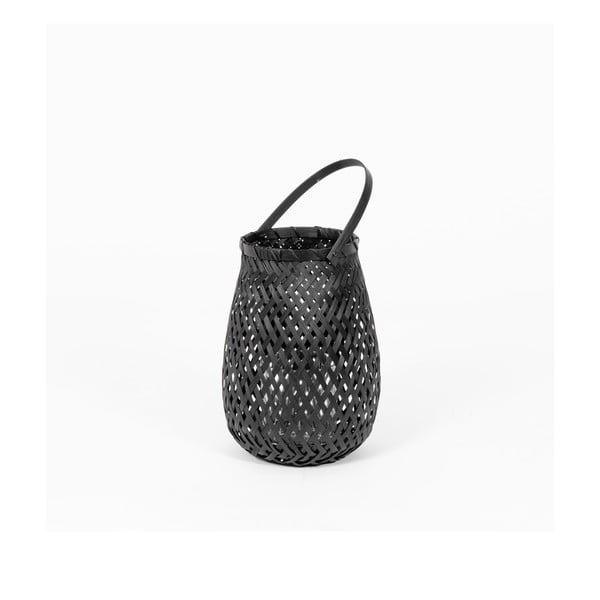Felinar din bambus Compactor Bamboo Lantern, ⌀ 18 cm, negru