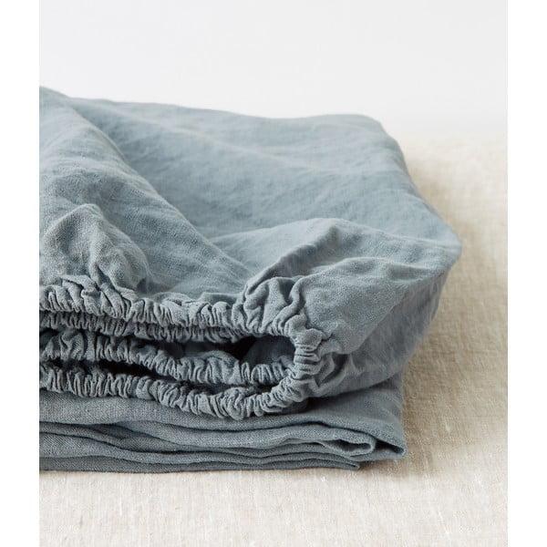 Světle modré lněné elastické prostěradlo Linen Tales, 90 x 200 cm