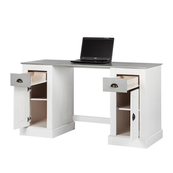 Bílý pracovní stůl z borovicového dřeva s 2 dvířky Støraa Tommy