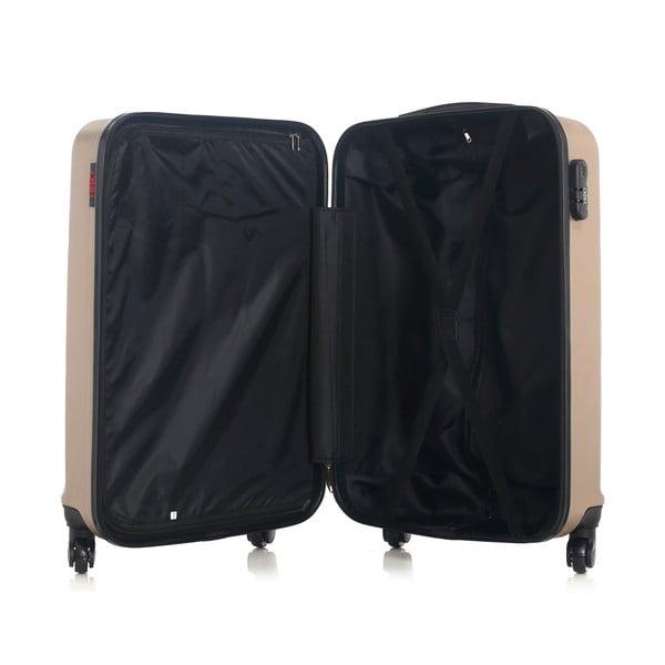 Béžově zlatý cestovní kufr na kolečkách Hero Utah, 60 l