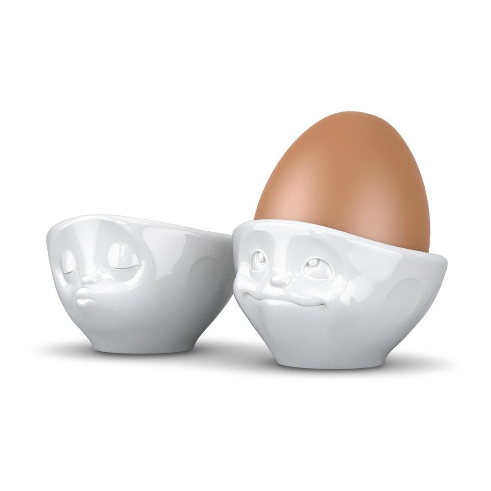 Sada 2 bílých porcelánových zamilovaných kalíšků na vajíčka 58products, objem 100 ml 58products