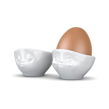 Set 2 suporturi din porțelan pentru ouă, îndrăgostit 58products, alb