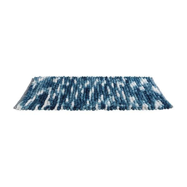 Modrá koupelnová předložka Wenko Smooth Blue, 90 x 60 cm