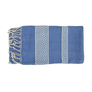 Prosop țesut manual din bumbac premium Basak, 100 x 80 cm, albastru
