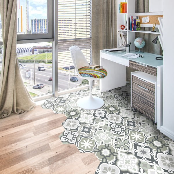 Sada 10 samolepek na podlahu Ambiance Floor Stickers Hexagons Lettie, 40 x 90 cm