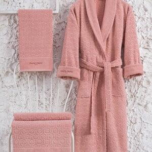 Set růžového bavlněného dámského županu velikosti XL, ručníku a osušky Bathrobe Set Lady