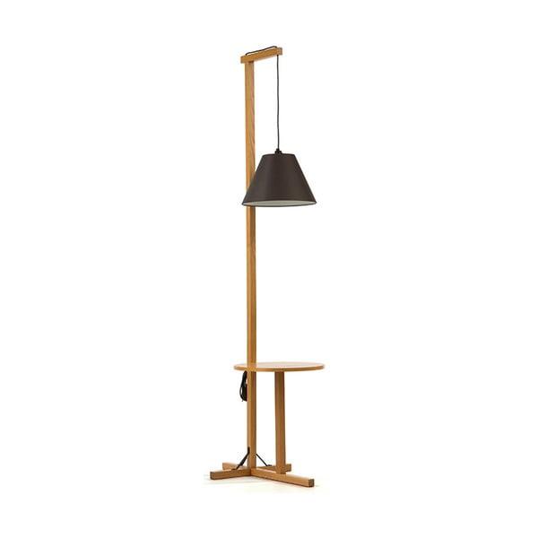 Lampadar cu structură din lemn Woodman Floor, negru