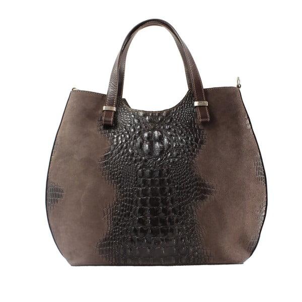Tmavě hnědá kožená kabelka Citta