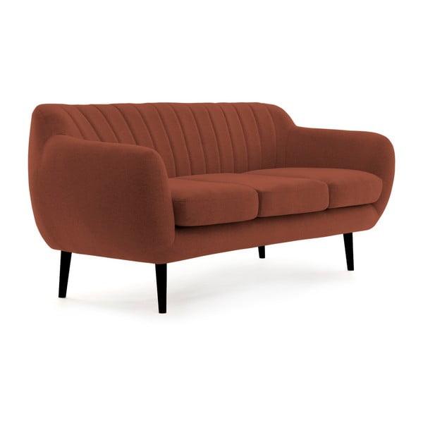 Ciemnoczerwona sofa 3-osobowa z czarnymi nogami VIVONITA Kennet