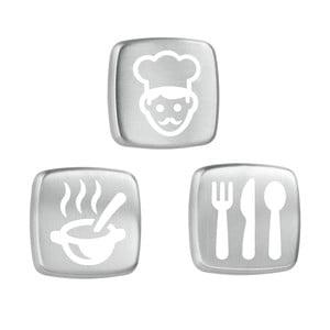 Sada 3 bílých magnetů z nerezové oceli Metaltex Kitchen