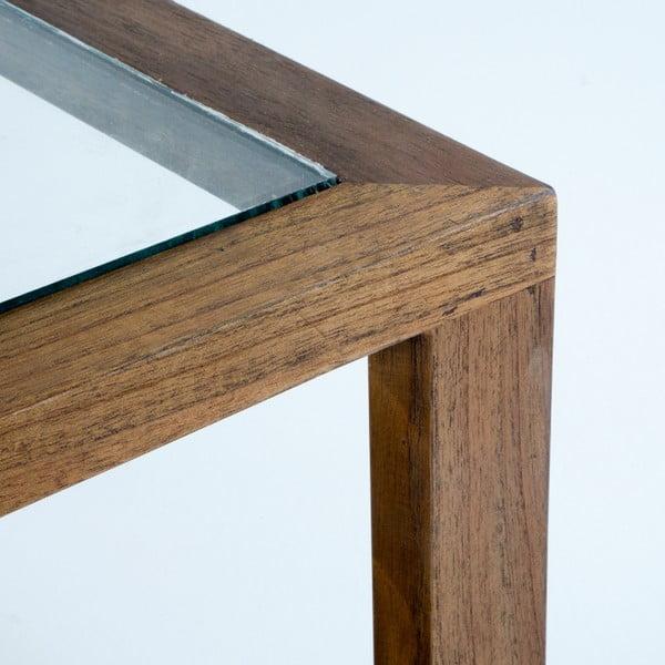 Konferenční stolek z lakovaného dřeva a skla Thai Natura, 110 x 70 cm