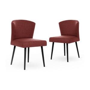 Sada 2 cihlově červených židlí s černými nohami My Pop Design Richter