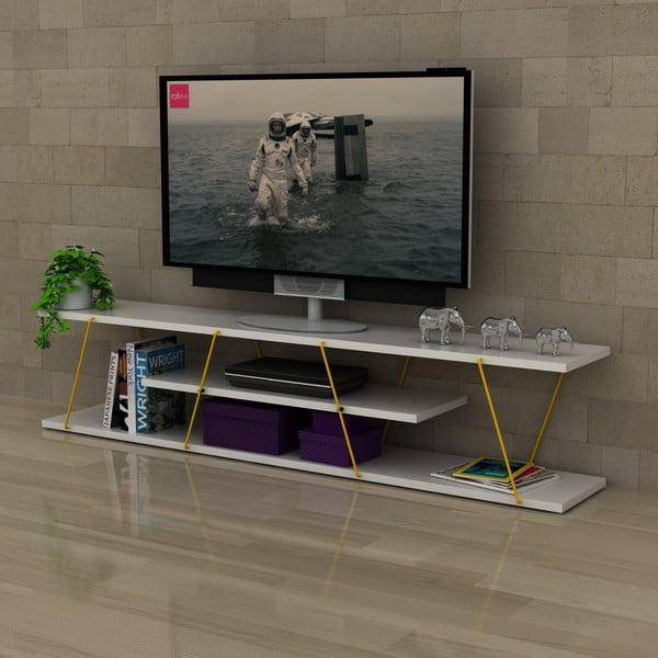 Comodă TV cu detalii galbene Rafevi Tars, alb