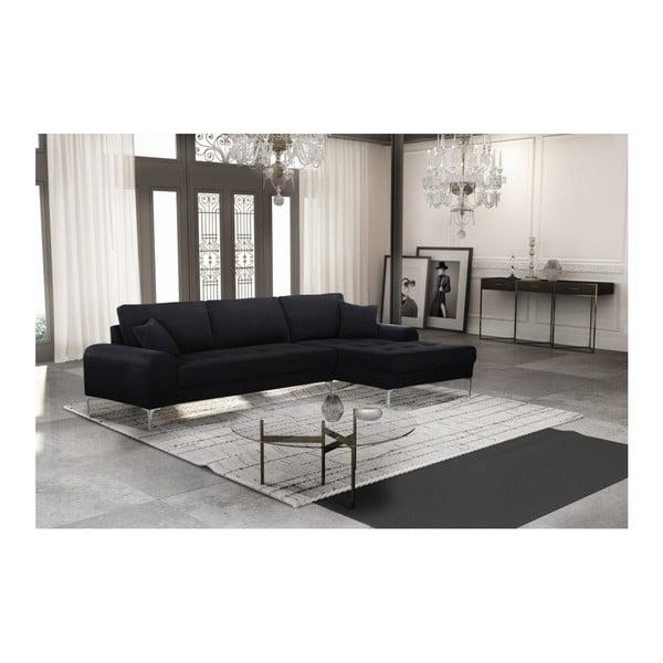 Set canapea neagră cu șezlong pe partea dreaptă, 4 scaune albastre și saltea 160 x 200 cm Home Essentials