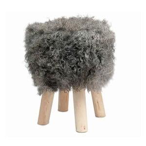 Taburet cu blană Sheepo, gri închis