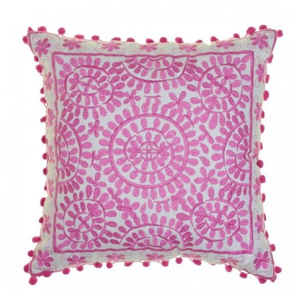 Růžový vyšívaný polštář BombayDuck Souk, 40x40cm