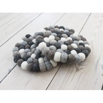 Suport pahar cu bile din lână Wooldot Ball Coaster, ⌀ 20 cm, alb - gri imagine