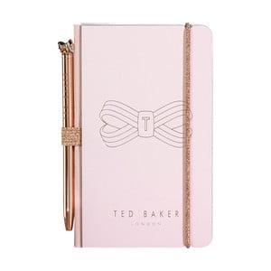 Růžový zápisník s propiskou Ted Baker Bow