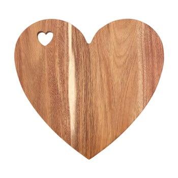 Tocător din lemn de salcâm Premier Housewares, 30 x 28 cm, formă inimă, roz de la Premier Housewares