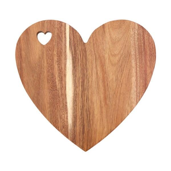 Deska w kształcie serca z drewna akacjowego z różowym brzegiem Premier Housewares, 30x28 cm