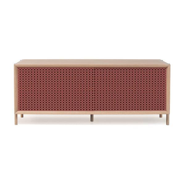 Tmavě růžový TV stolek z dubového dřeva HARTÔ Gabin, délka 122 cm