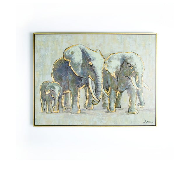 Ručně malovaný obraz Graham & Brown Elephant Family, 80 x 60 cm