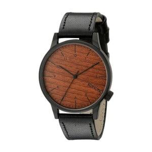 Pánské černé hodinky s koženým řemínkem a ciferníkem v dekoru dřeva Komono