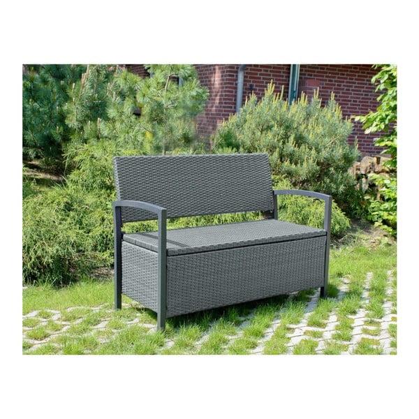 Šedá zahradní lavice s úložným prostorem ADDU Ferrara